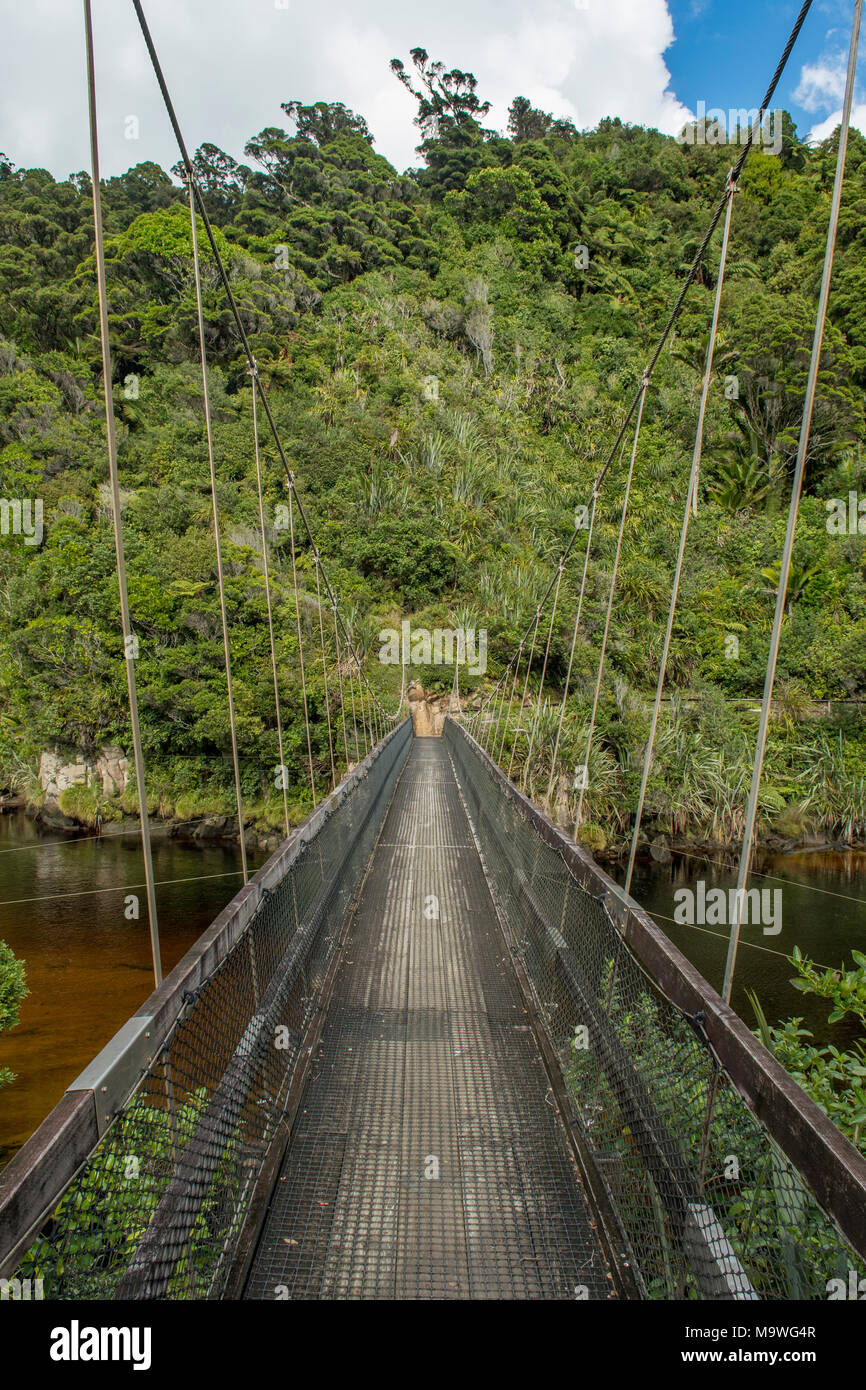 Kohaihai River Swingbridge, Kahurangi National Park, South Island, New Zealand - Stock Image