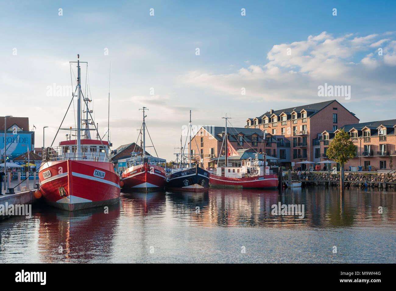 Fishing port, Heiligenhafen, Baltic Sea, Schleswig-Holstein, Germany, Europe - Stock Image