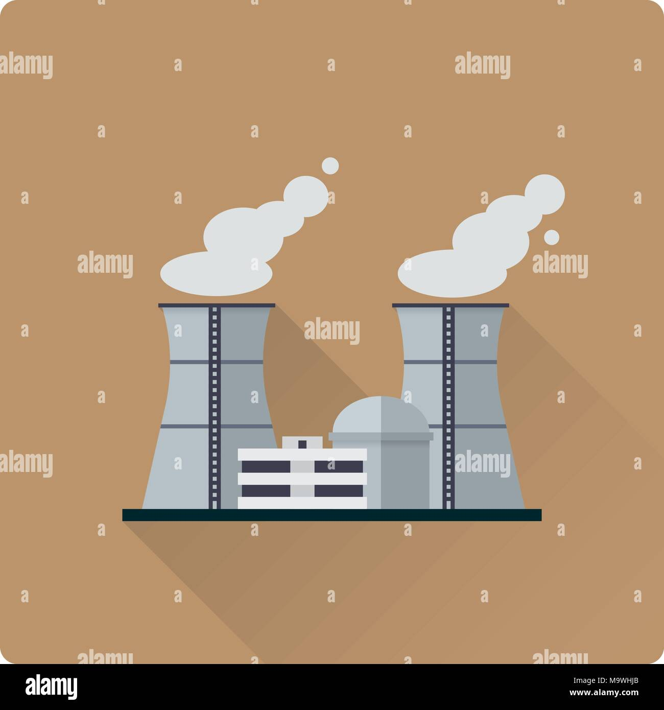 flat design long shadow nuclear power plant buildings vector illustration - Stock Image