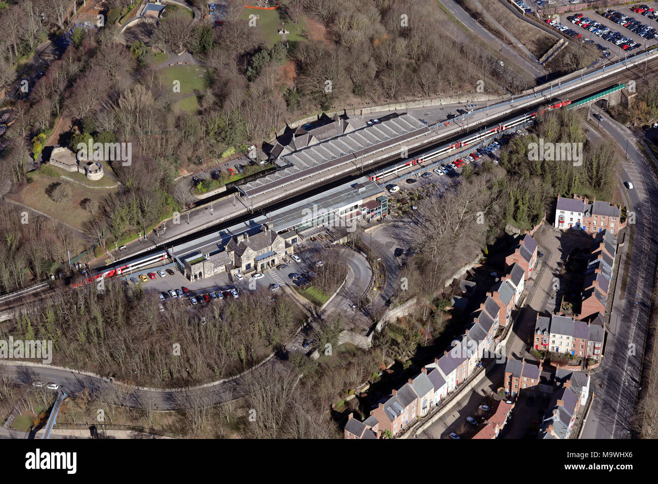 aerial view of Durham railway station, County Durham - Stock Image
