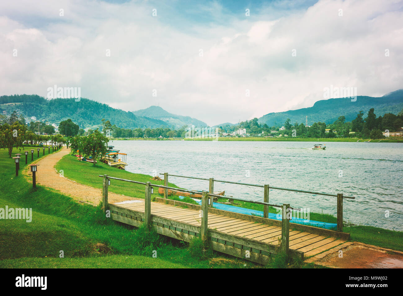landscape with Gregory lake in Nuwara Eliya, Sri Lanka - Stock Image