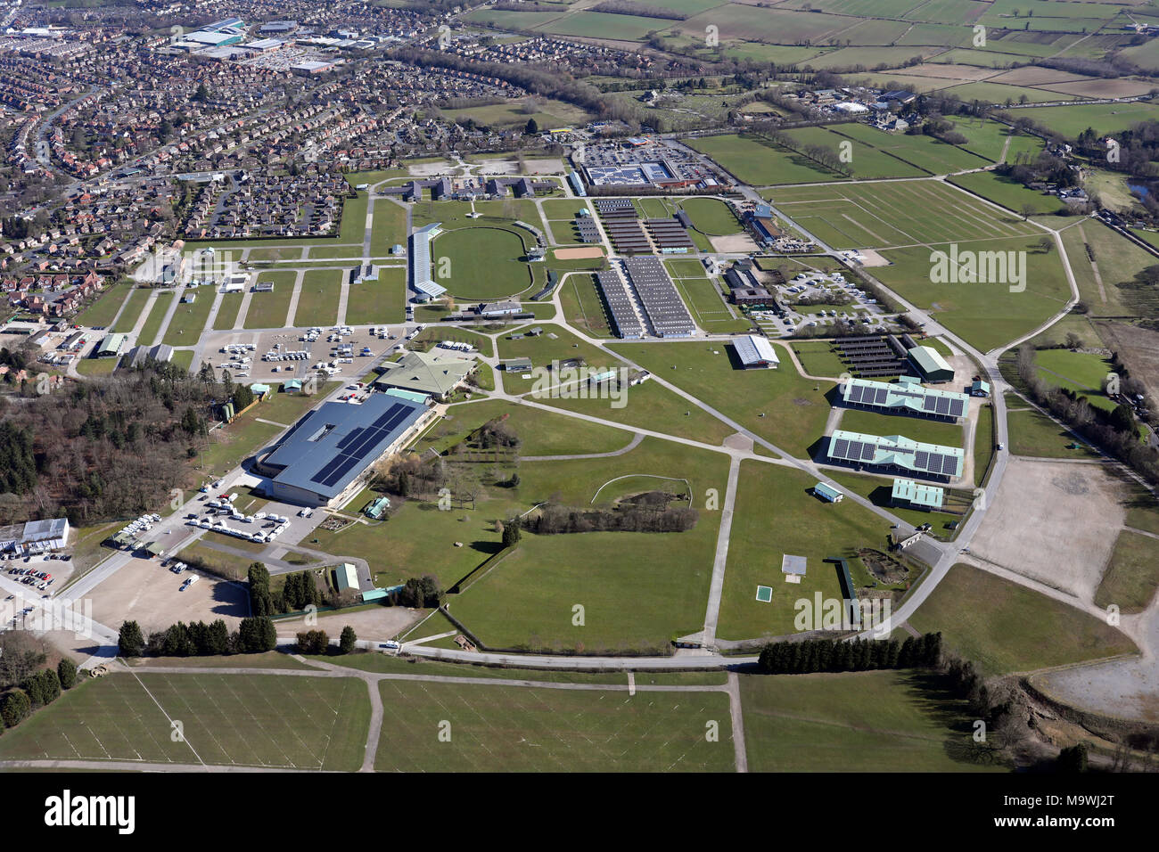aerial view of Harrogate Showground - Stock Image