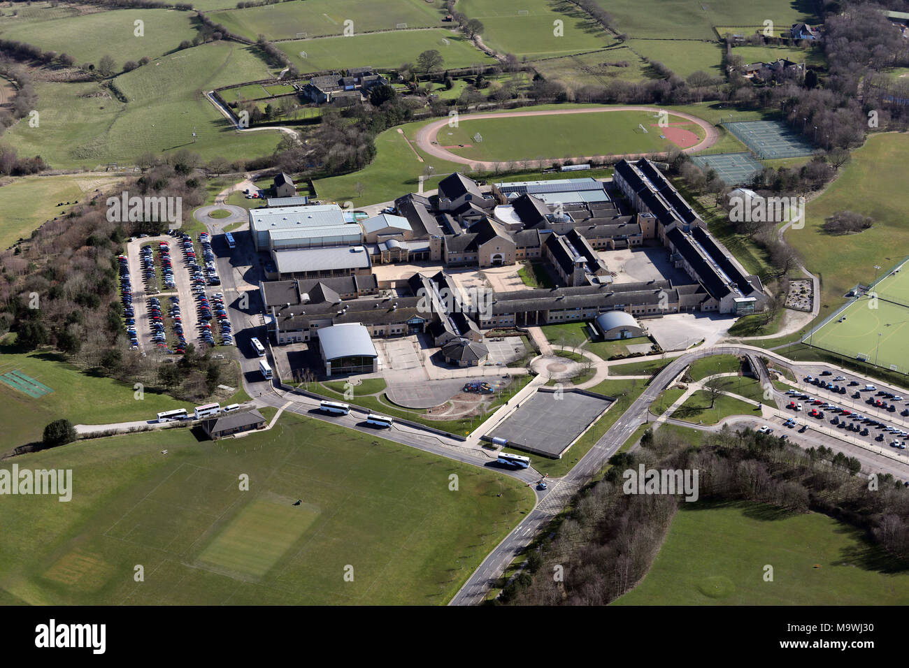aerial view of the Grammar School at Leeds, West Yorkshire, UK - Stock Image