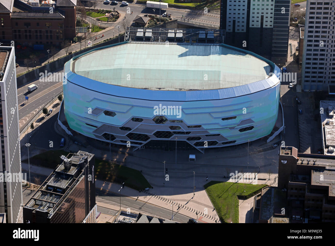 aerial view of the First Direct stadium auditorium gig venue in Leeds, West Yorkshire, UK - Stock Image