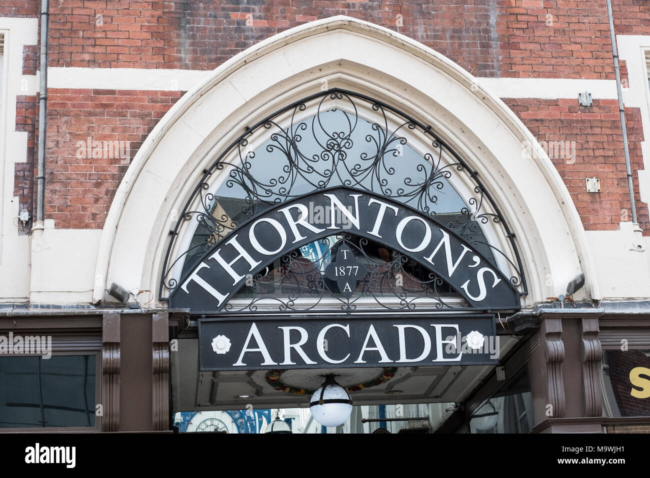 The entrance to Thorntons Arcade, Leeds, West Yorkshire, UK - Stock Image
