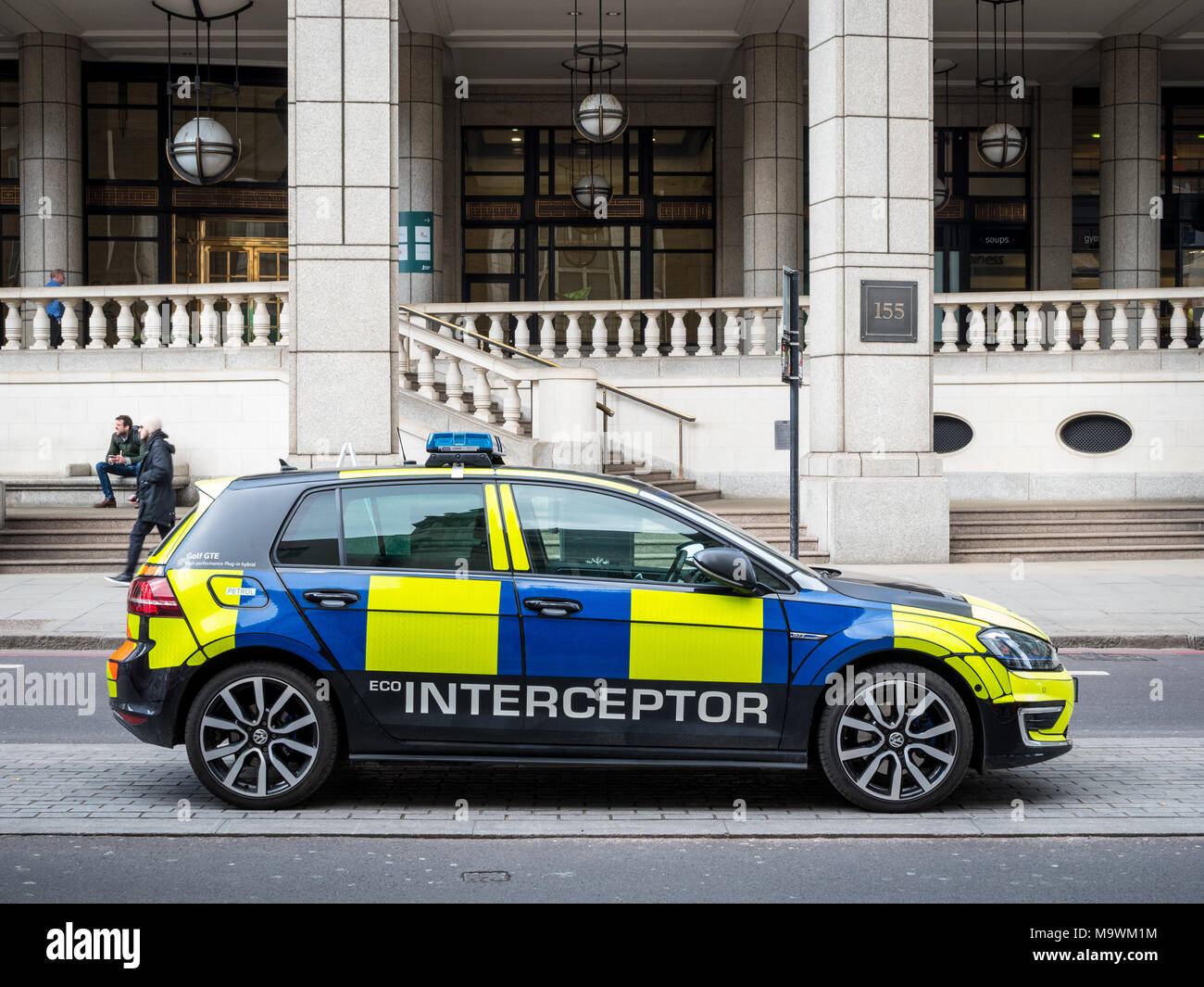 Eco Police Interceptor Car - City of London Police using a VW Golf GTE Hybrid  as fast response interceptor - Stock Image