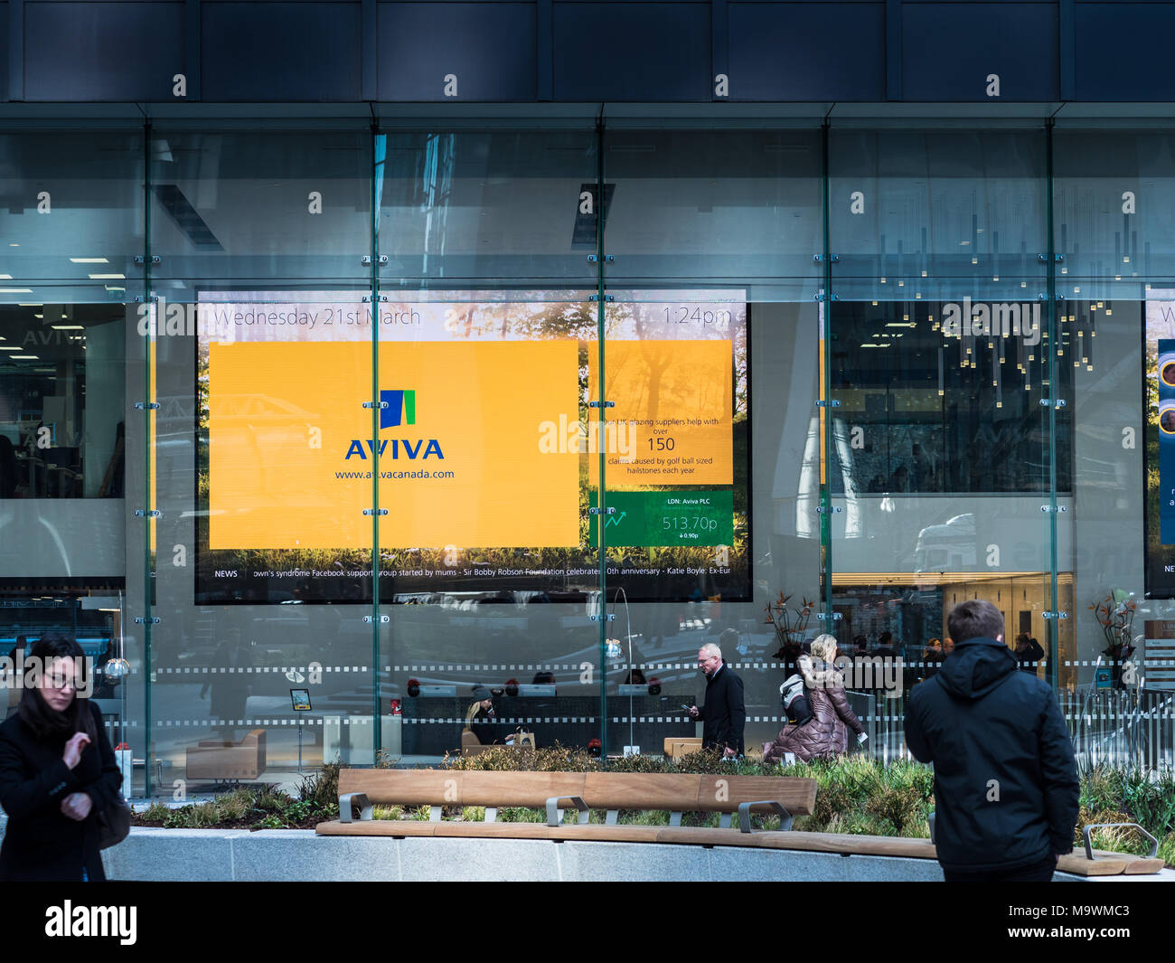 Aviva display in the foyer of the St Helen's building, formerly the Aviva Tower, in St Mary Axe in the City of London - Stock Image