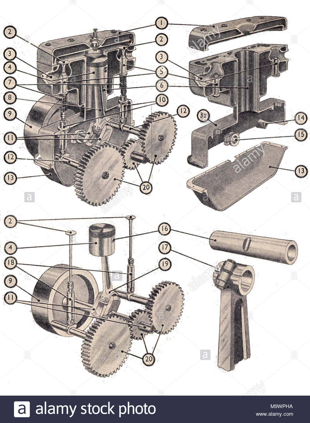 Four-stroke single-cylinder engine components (Manual of Driving and  Maintenance) .