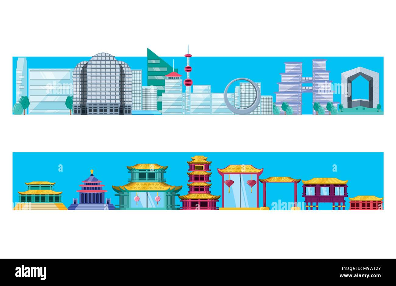 chinese culture architecture icons vector illustration design Stock Vector