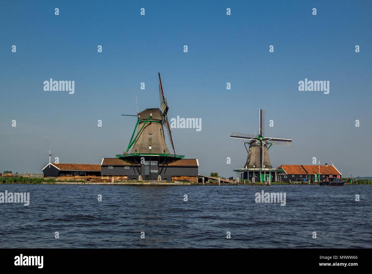 Windmill house on the Zaanse Schans Stock Photo