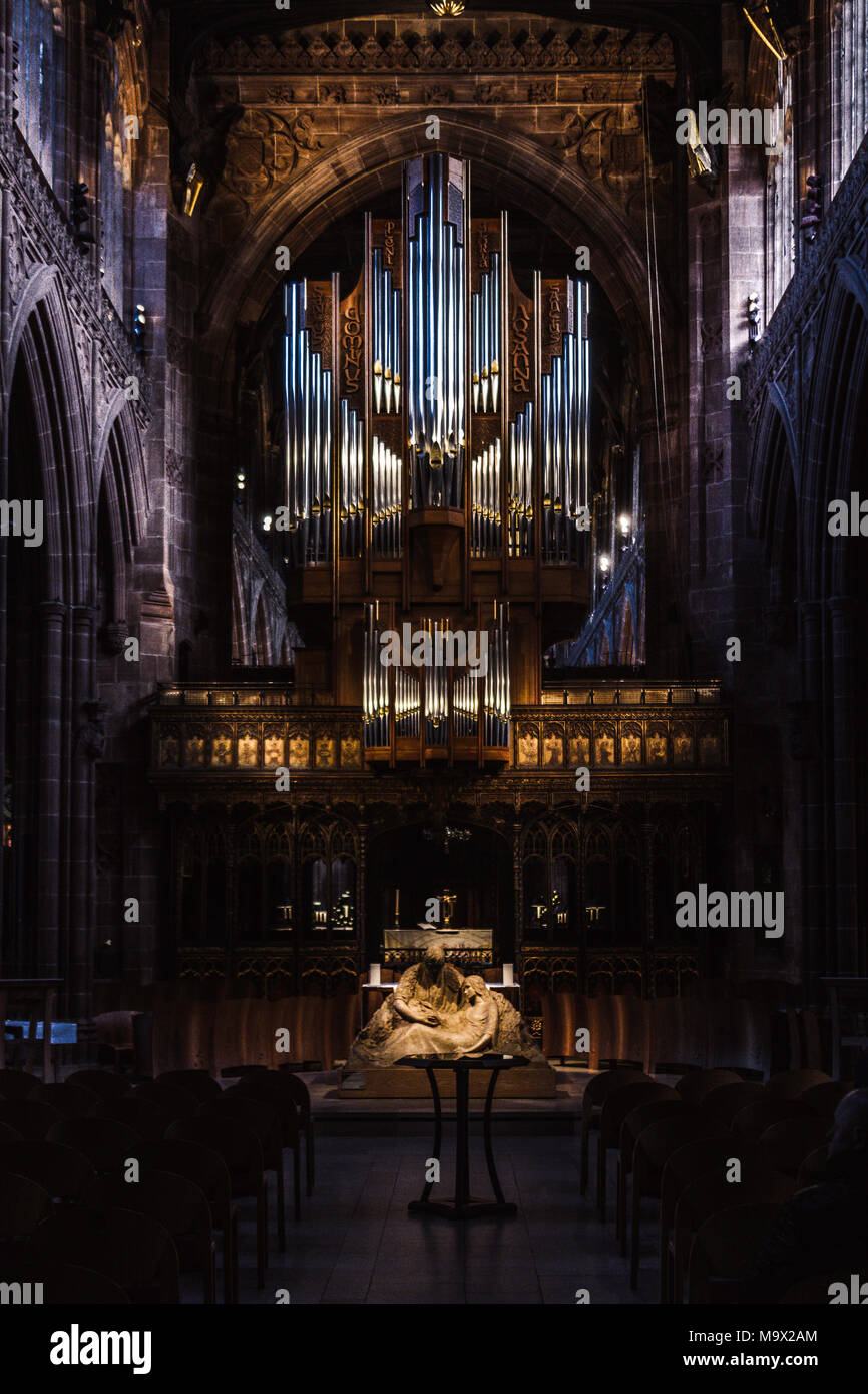 Interior of the Manchester Cathedral - Stock Image