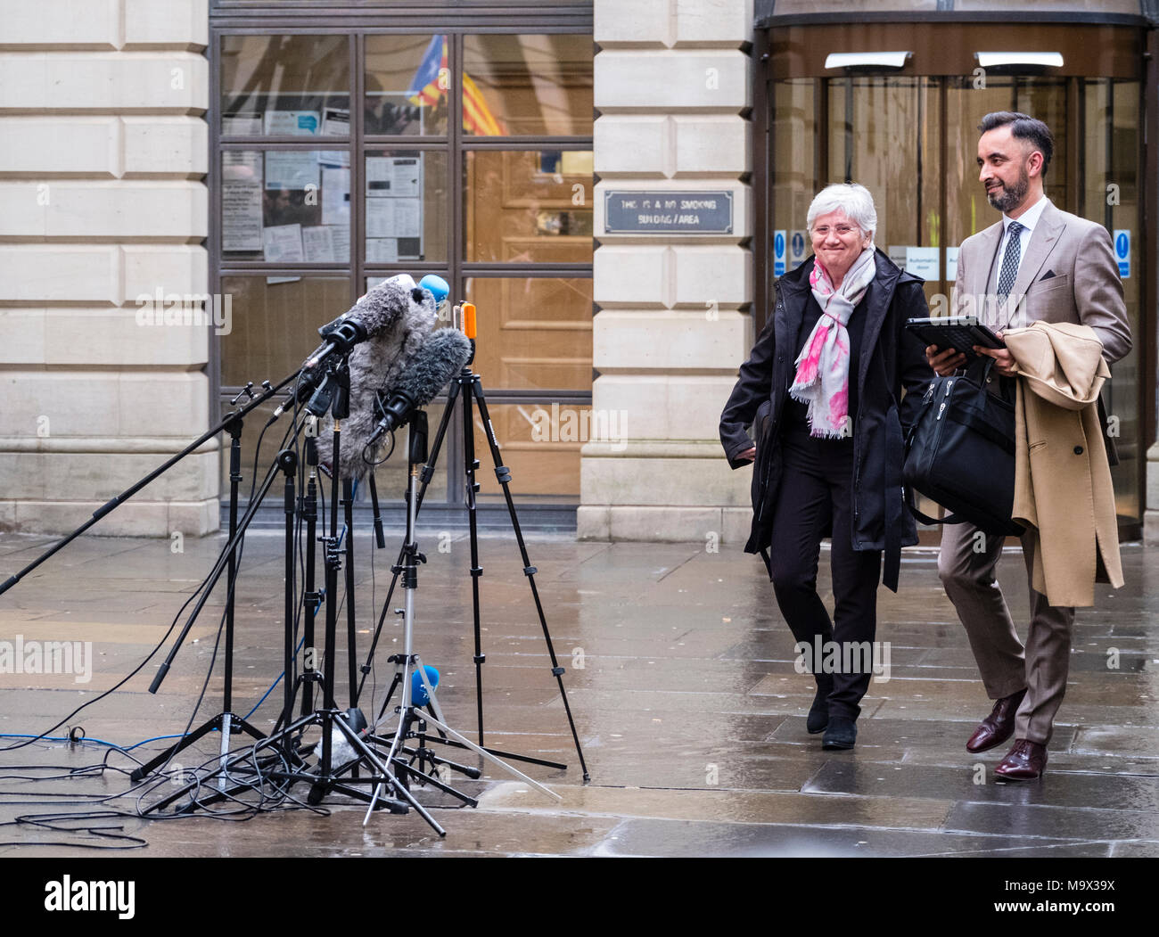 Edinburgh, Scotland,UK. 28 March 2018.  Clara Ponsati  leaving  Edinburgh Sheriff Court after her hearing. Ponsati faces extradition to Spain to face charges of rebellion over her support of Catalan Independence. Credit: Iain Masterton/Alamy Live News - Stock Image