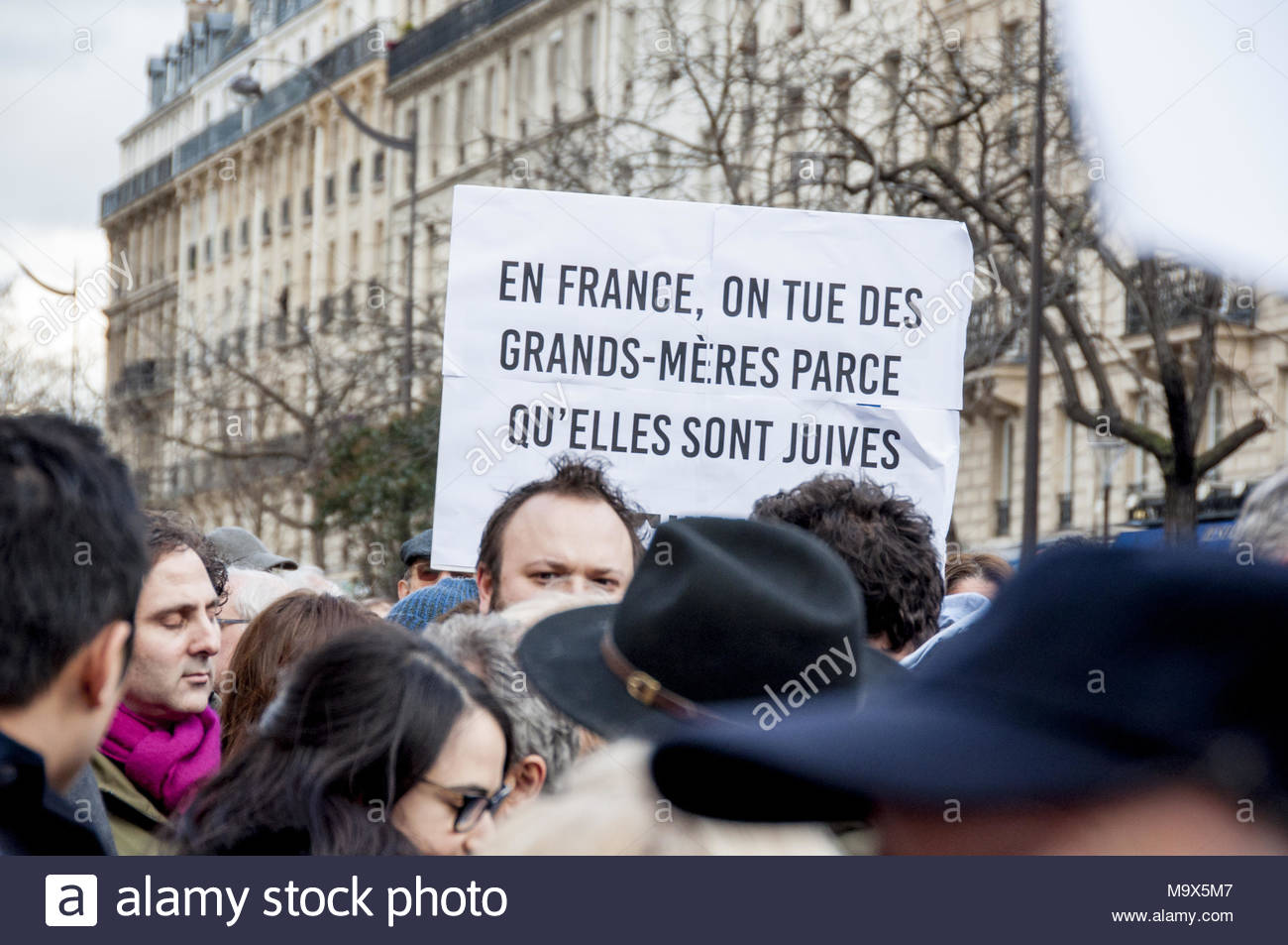 Paris-11E-Arrondissement France 28 March 2018 A protester holds a placard  reading '