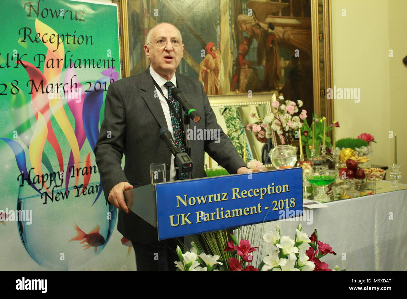 London, UK. 28th Mar, 2018. Lord Carlile of Berriew CBE QC, London, UK, 28/03/2018 - Cross-party MPs & Peers joined members of the Anglo-Iranian community for Nowruz celebration in the UK Parliament on Wednesday 28 March 2018. Lord Carlile of Berriew CBE QC, co-chair of the British Committee for Iran Freedom, speaking at this event and said, the violent crackdown and arbitrary mass arrests by the Iranian authorities in response to the popular protests exposes the regimeÕs inability to answer the legitimate demands of the Iranian people. Credit: Siavosh Hosseini/Alamy Live News - Stock Image