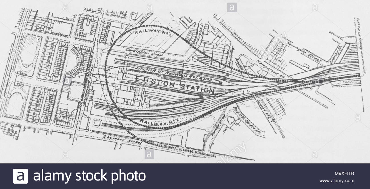 Map of underground railway loop line proposed by London North