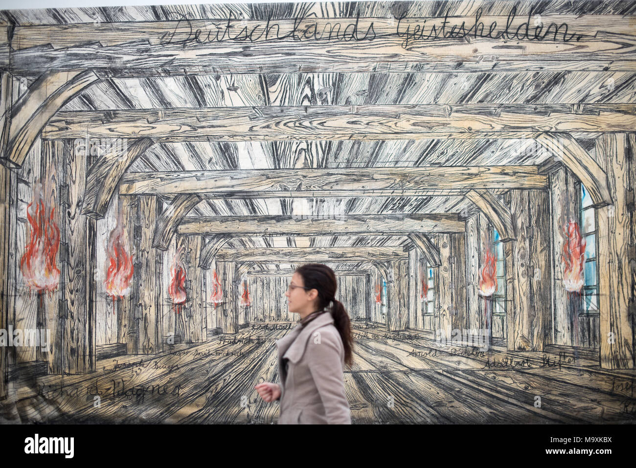 LOS ANGELES, CA - March 15, 2018: Anselm Kiefer's Deutschlands Geisteshelden (Germany's Spiritual Heroes), 1973 in The Broad Museum. - Stock Image