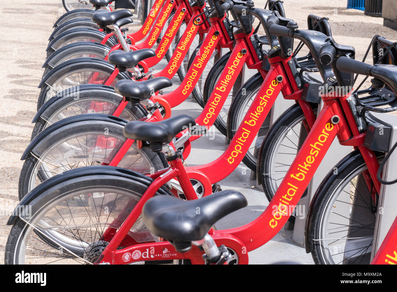 WASHINGTON, DC - MARCH 14, 2018: Bicycles lined up at a Capital Bikeshare station in Washington, DC - Stock Image