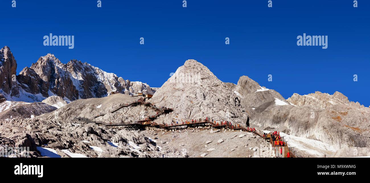 Jade Dragon Snow Mountain,Mount Yulong or Yulong Snow Mountain at Lijiang,Yunnan province,China. Stock Photo