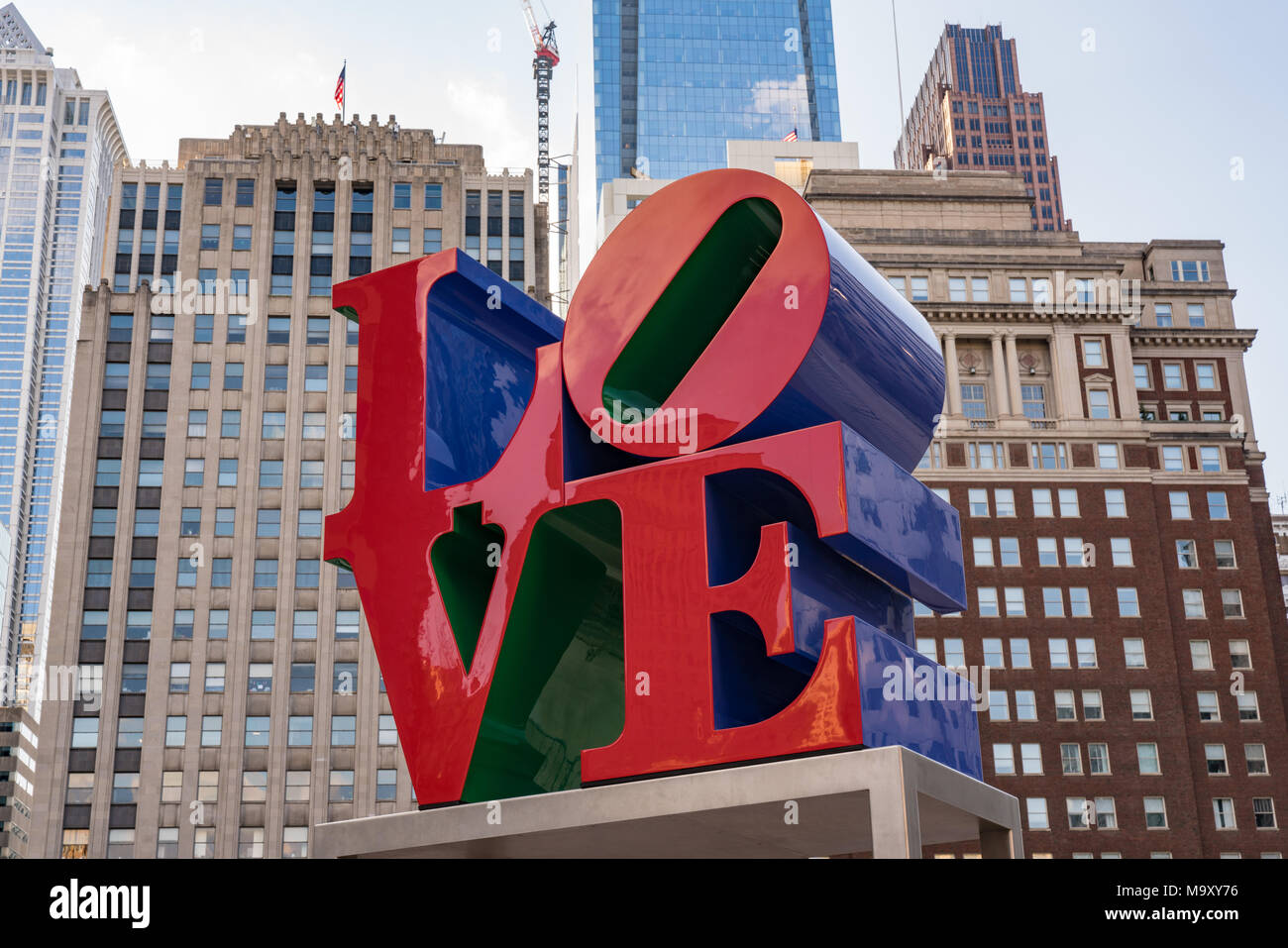 PHILADELPHIA, PA - MARCH 10, 2018: Newly restored LOVE sculpture in Love Park in Philadelphia, Pennsylvania - Stock Image