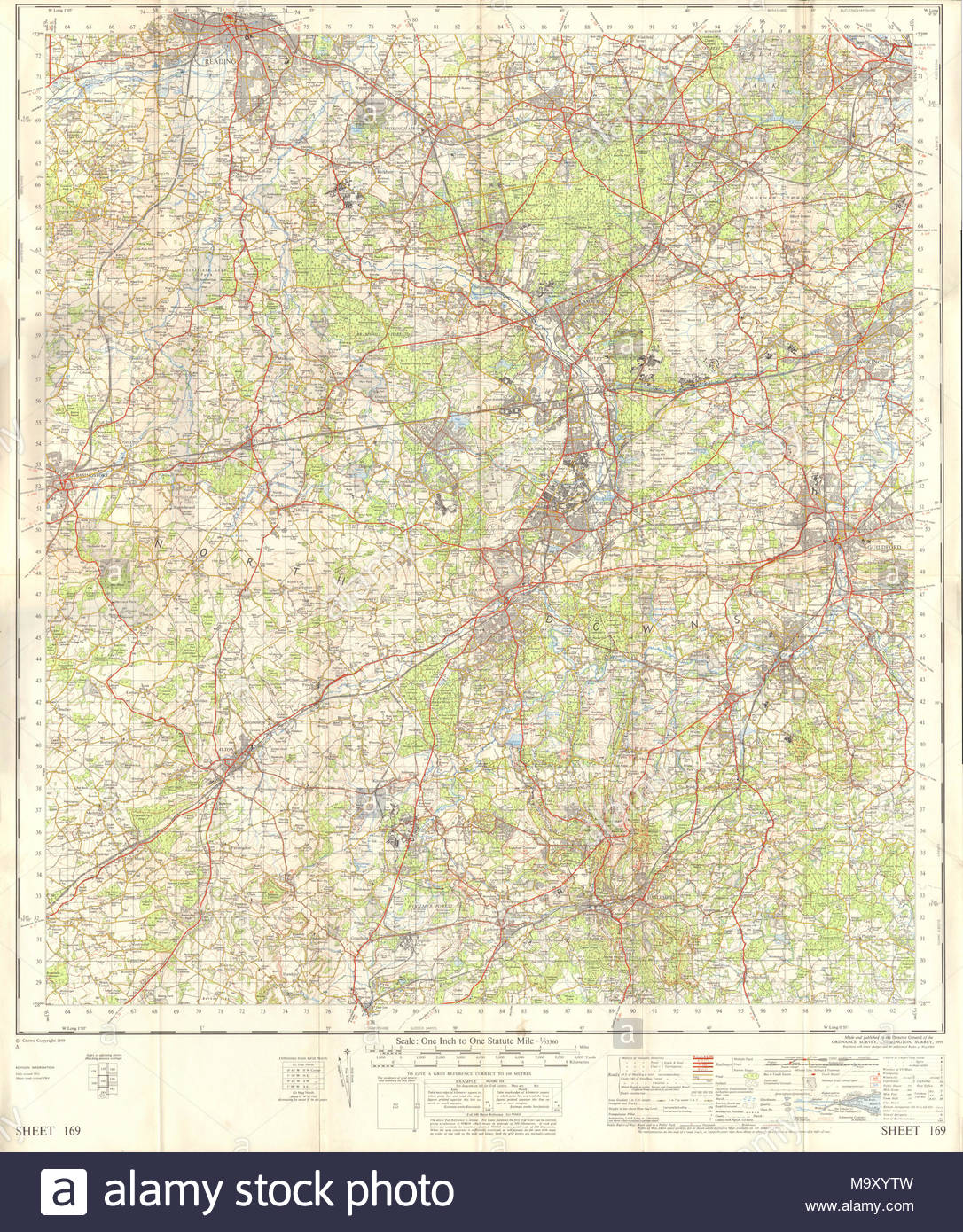 Os Map Of Aldershot And The Surrounding Region In Hampshire Surrey