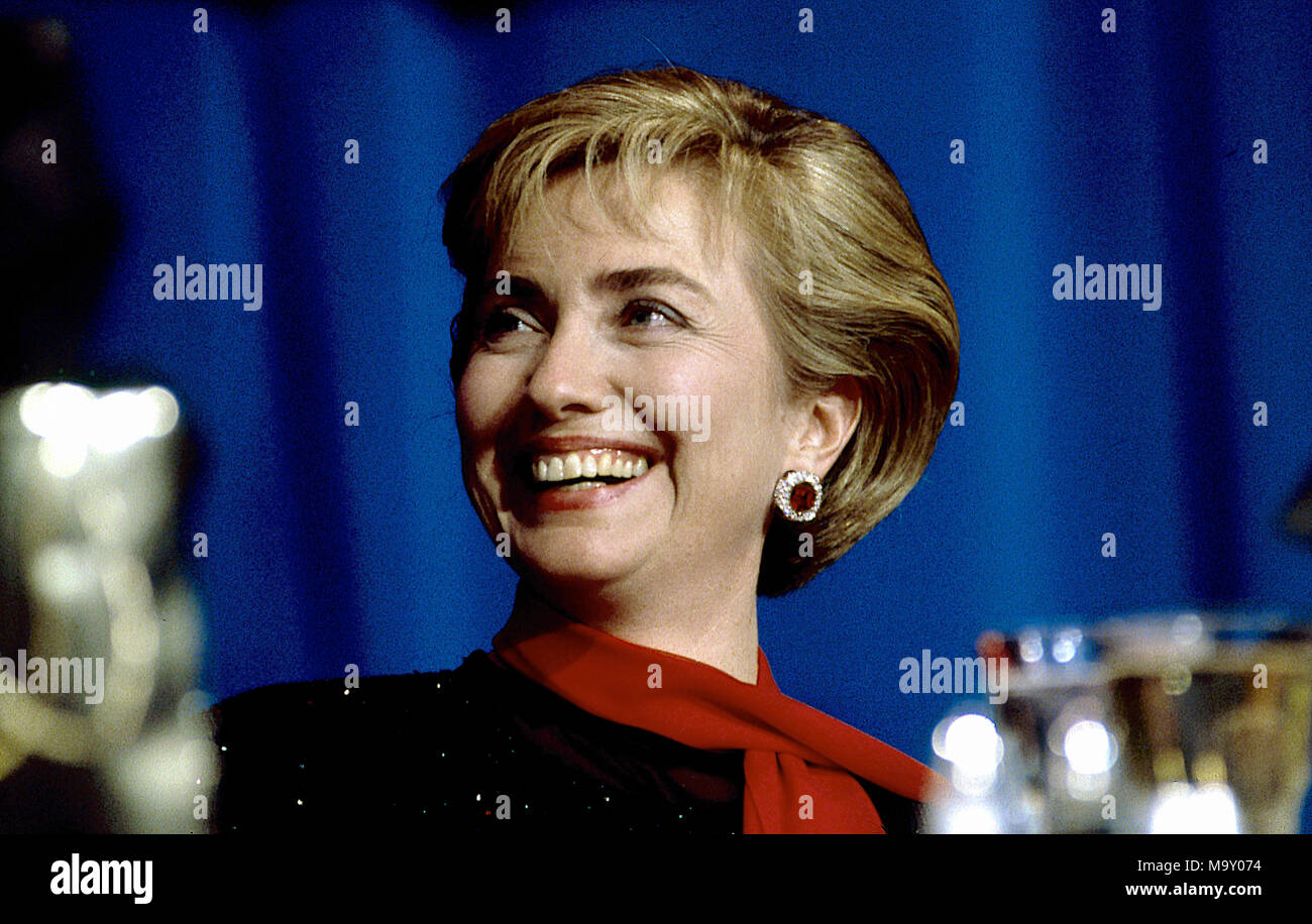 Washington, DC., USA, April 12, 1994 FIrst Lady Hillary Rodham Clinton  at the Radio Television Dinner. Credit: Mark Reinstein/MediaPunch - Stock Image
