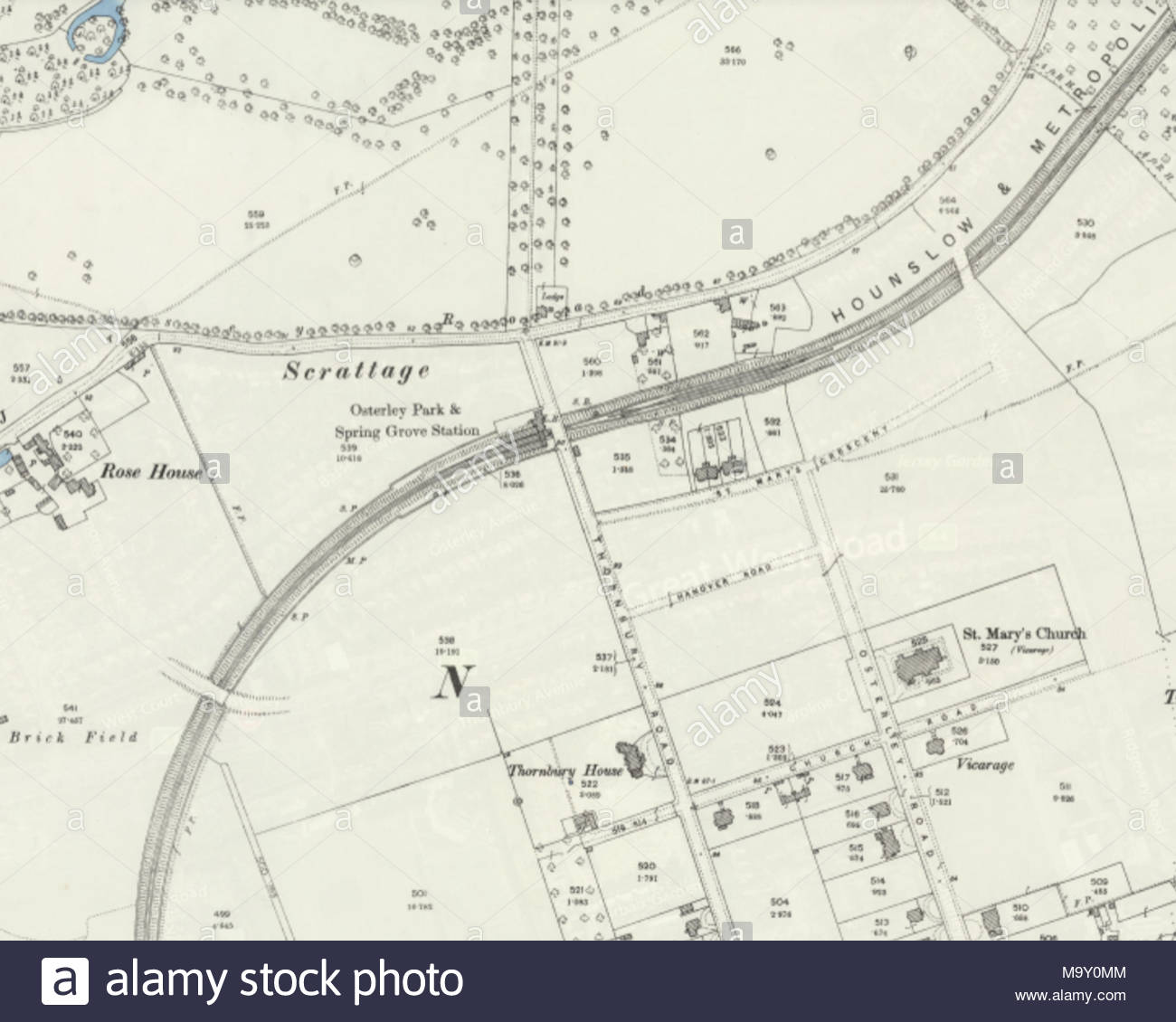 closed london underground station osterley spring grove on an ordnance survey map stock
