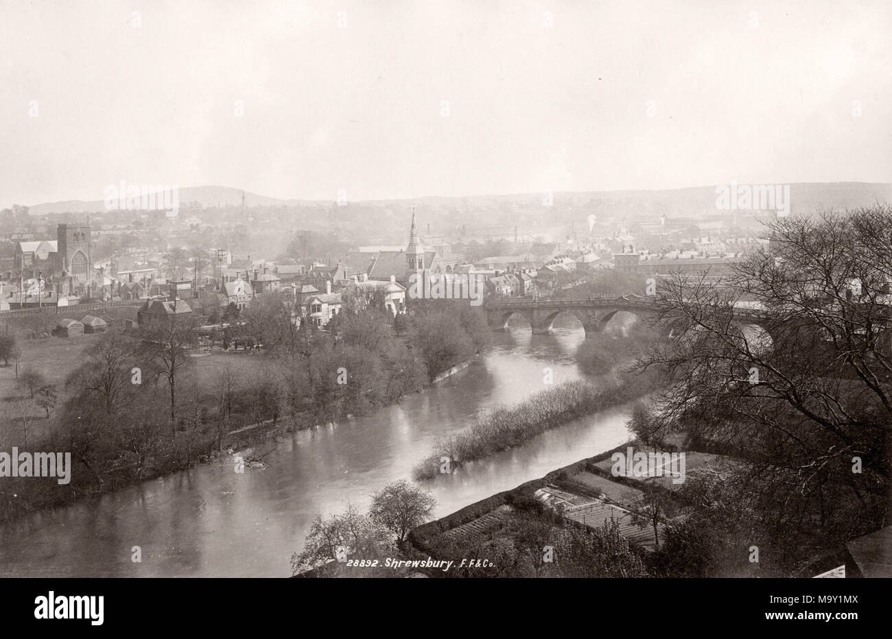 Vintage 19th century photograph - United Kingdom - Shrewsbury and the River Severn Stock Photo
