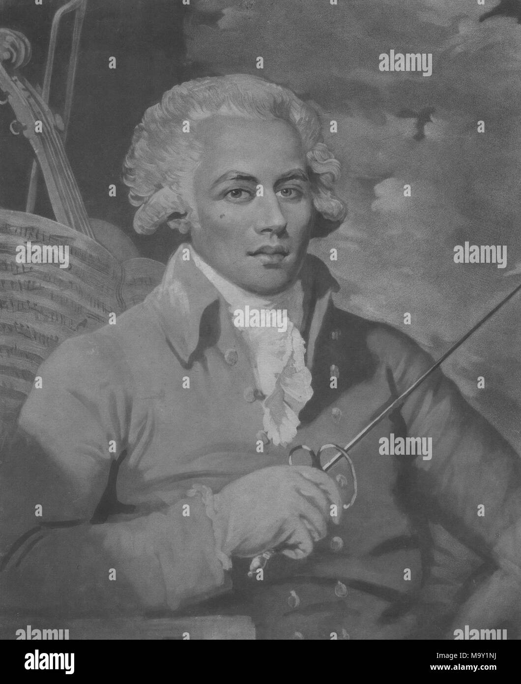 Portrait of Monsieur de St George, a prominent musician born from the union of a plantation owner and his African slave, 1788. From the New York Public Library. () - Stock Image