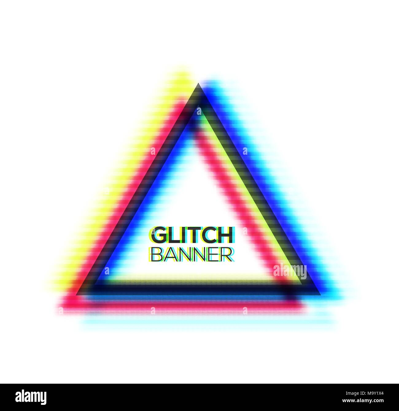 Minimal style art. Glitch texture triangle frame design. Distorted ...