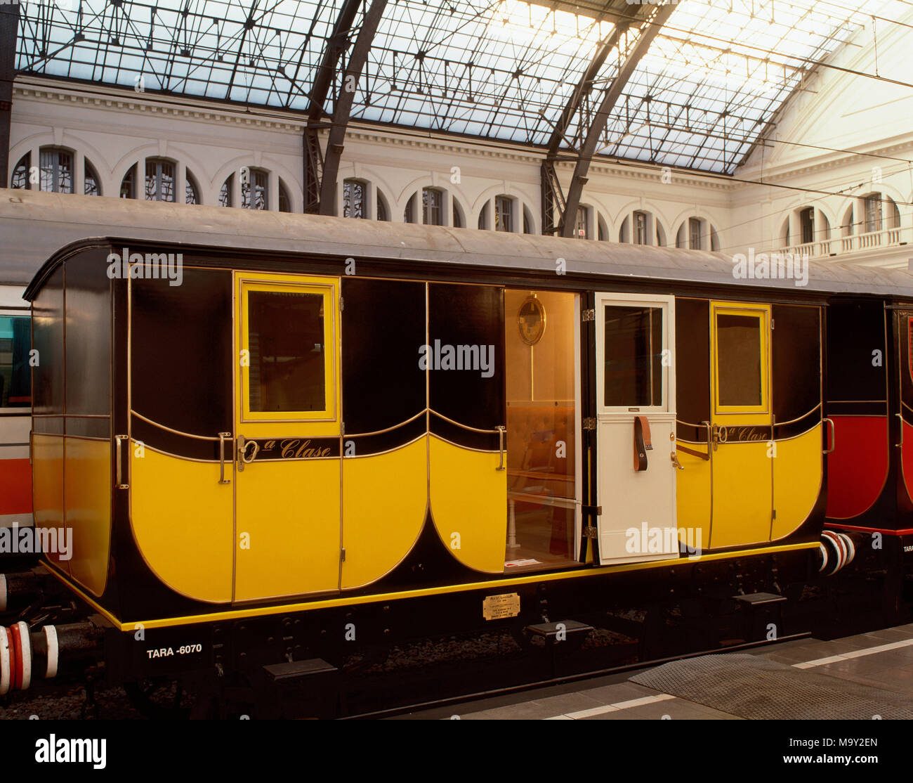 Railway of the short line from Barcelona to Mataro, 1848. Wagon, Second Class. Replica for the Exhibition '150 years of railroad in Spain' (1998-1999), held in France Station, Barcelona, Catalonia, Spain. - Stock Image
