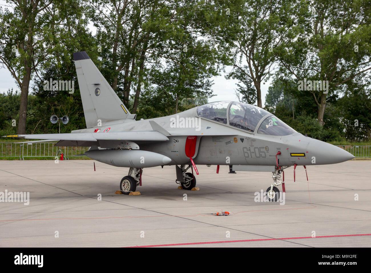 LEEUWARDEN, THE NETHERLANDS - JUN 10, 2016: Italian Air Force Alenia Aermacchi M-346 (T-346A) Master trainer jet. - Stock Image