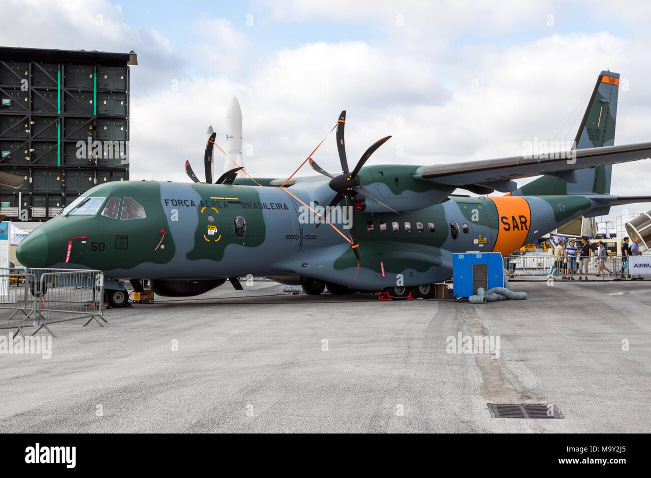 PARIS, FRANCE - JUN 23, 2017: Brazilian Air Force Casa SC-105 (Casa C-295) airplane in Search And Rescue configuration on display at the Paris Air Sho - Stock Image