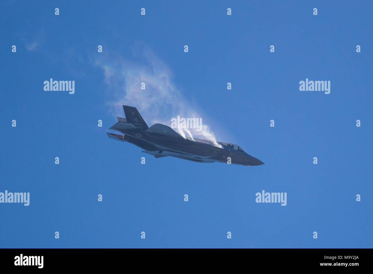 PARIS, FRANCE - JUN 23, 2017: US Air Force Lockheed-Martin F-35 Lightning II fighter jet free fall maneuvre during a demo on its debut at the Paris Ai - Stock Image