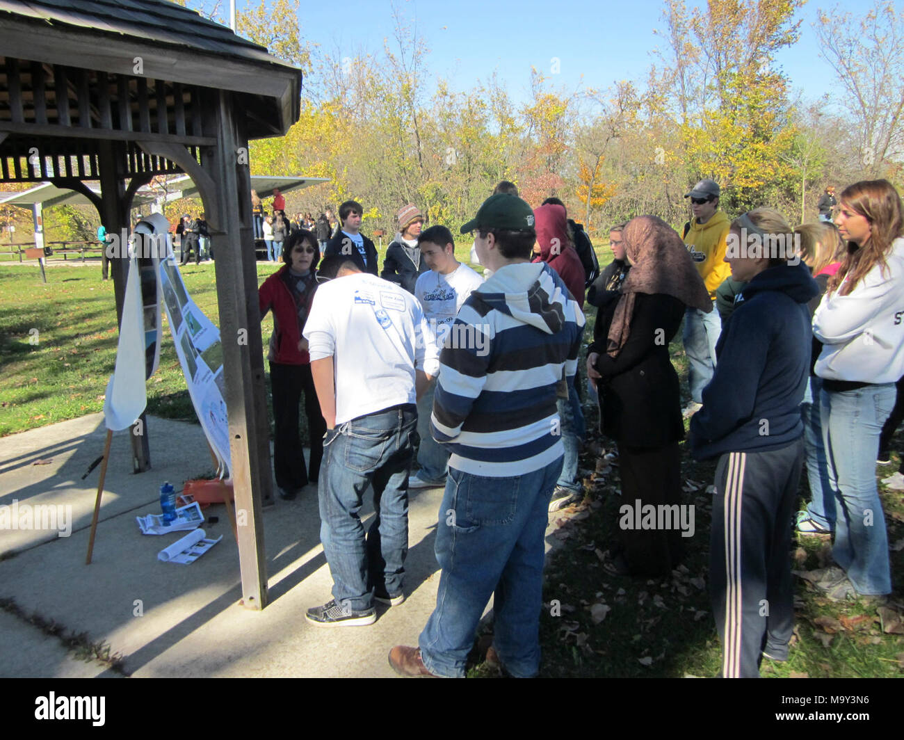Detroit River International Refuge and USGS staff hosted more than 175 students leaned about sturgeon natural history, status and trends, as well as environmental improvement as the foundation of ecological revival. - Stock Image