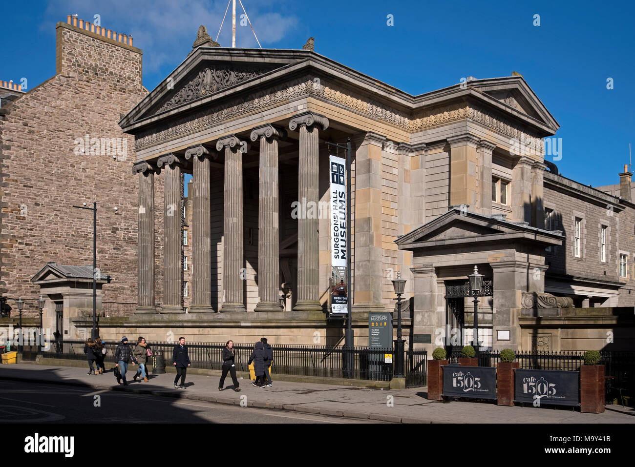 The Surgeons' Hall in Edinburgh, designed by William Playfair, is the headquarters of the Royal College of Surgeons of Edinburgh - Stock Image