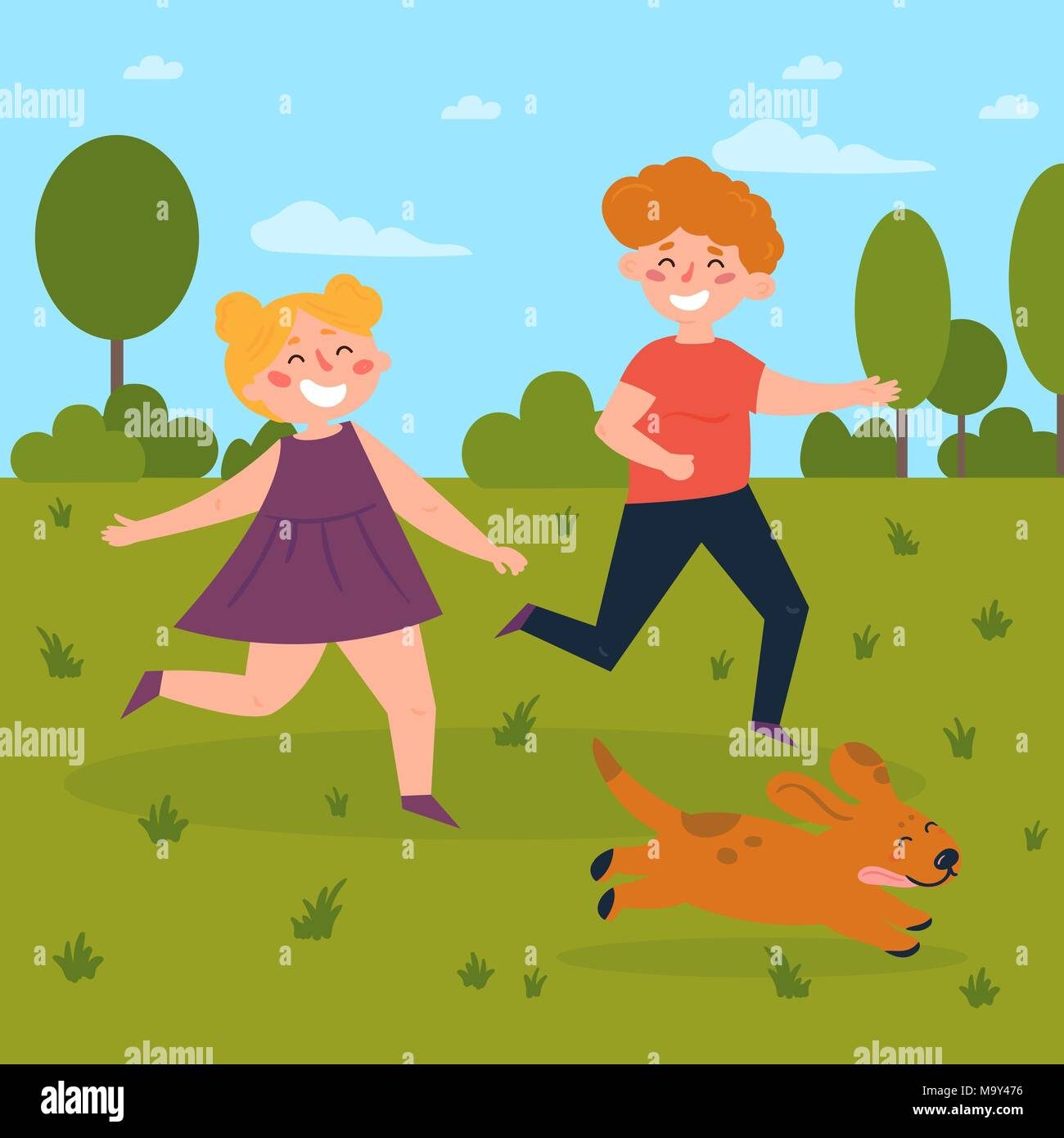 Kids playing with dog in the park. Boy and girl - Stock Vector