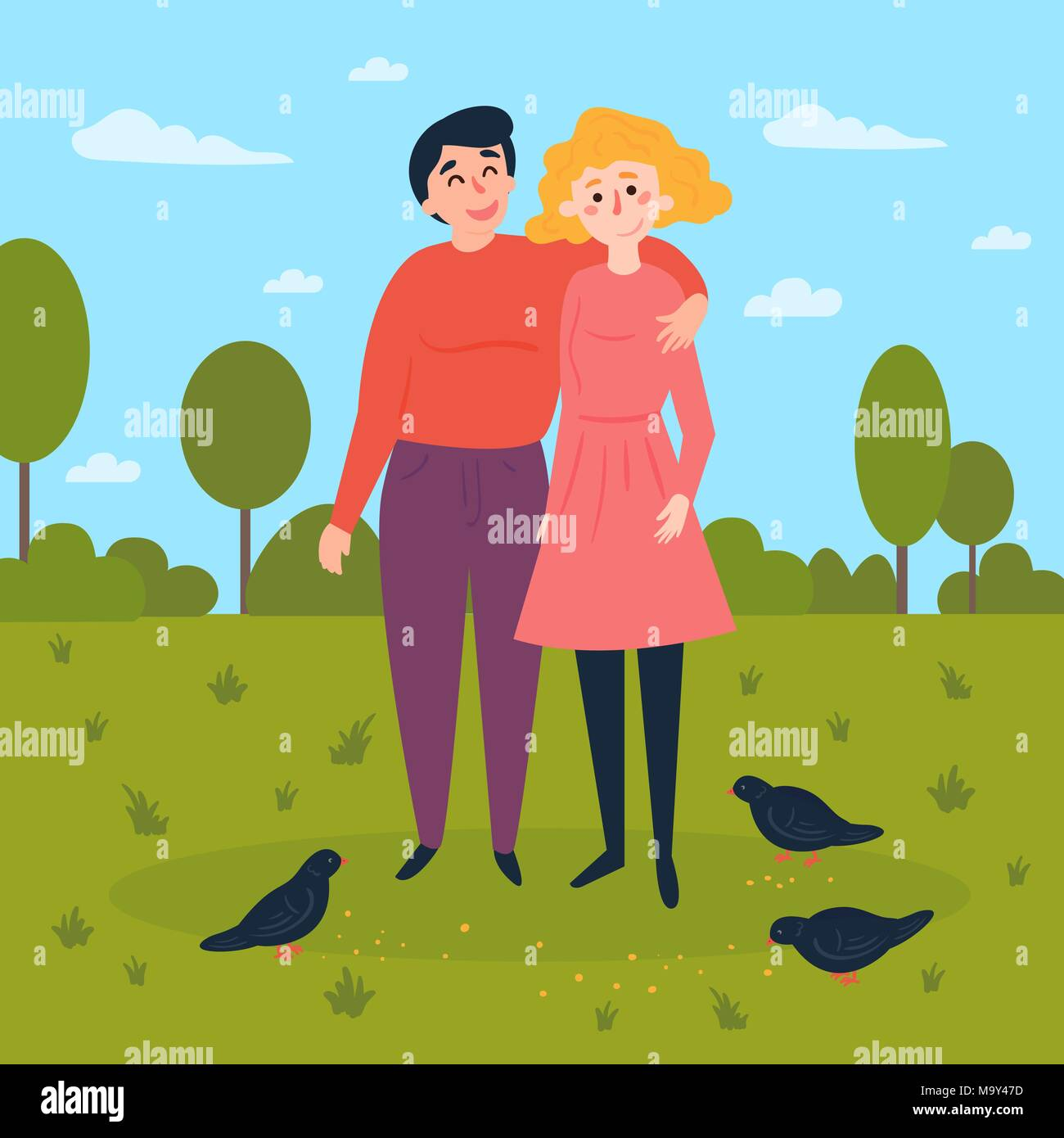 Young couple in the park with pigeons around - Stock Vector