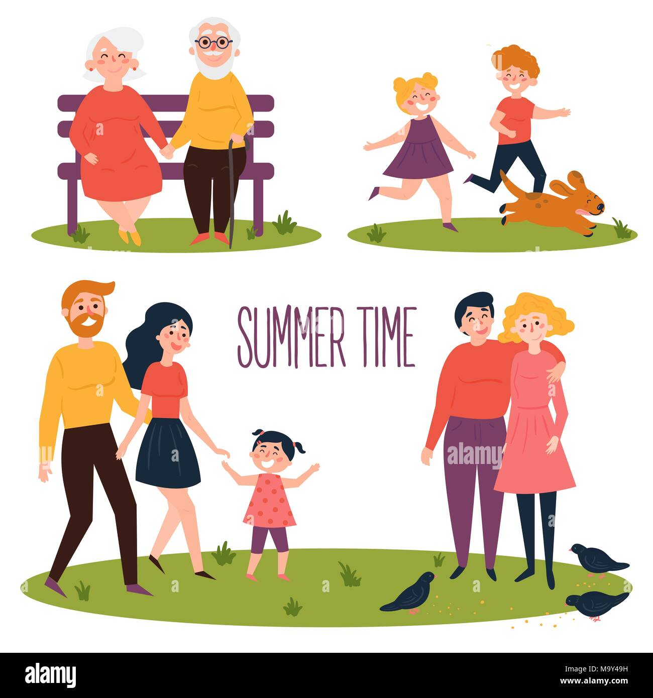 Rest in the park at the summer time. flat vector - Stock Image