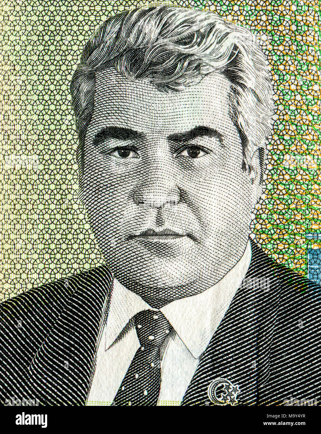 Saparmurat Niyazov portrait from ten thousand turkmenistan manats banknote Stock Photo