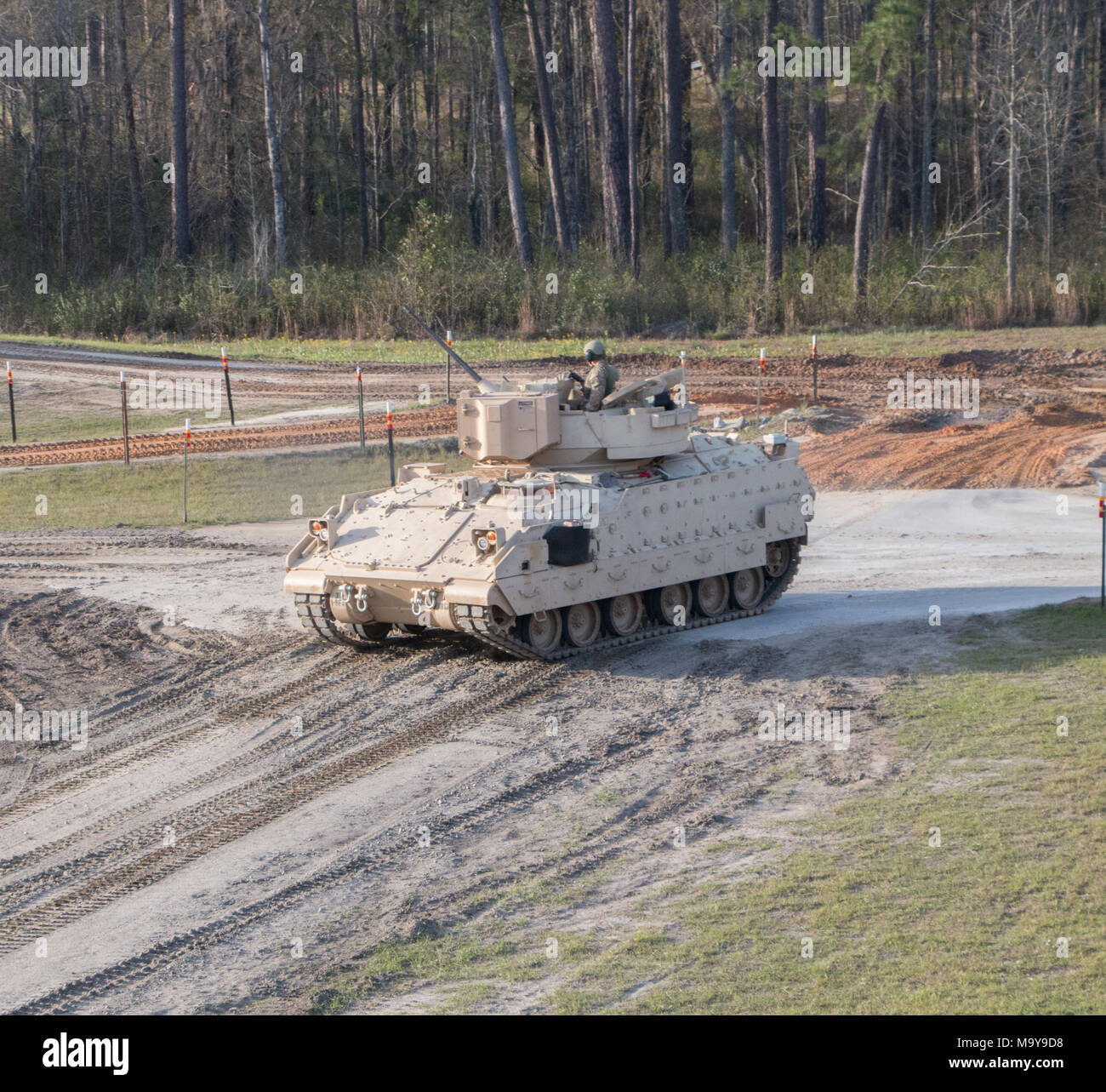 Troopers of 6th Squadron, 8th Cavalry Regiment, 2nd Armored Brigade Combat Team, 3rd Infantry Division, prepare to send a live round down range March 21 at Fort Stewart, Ga. This is the first time live rounds have been fired since the U.S. Army announced that 3rd ID's Spartan Brigade would convert from an infantry to an armored brigade combat team. (U.S. Army photo taken by Spc. Calab Franklin/Released) Stock Photo