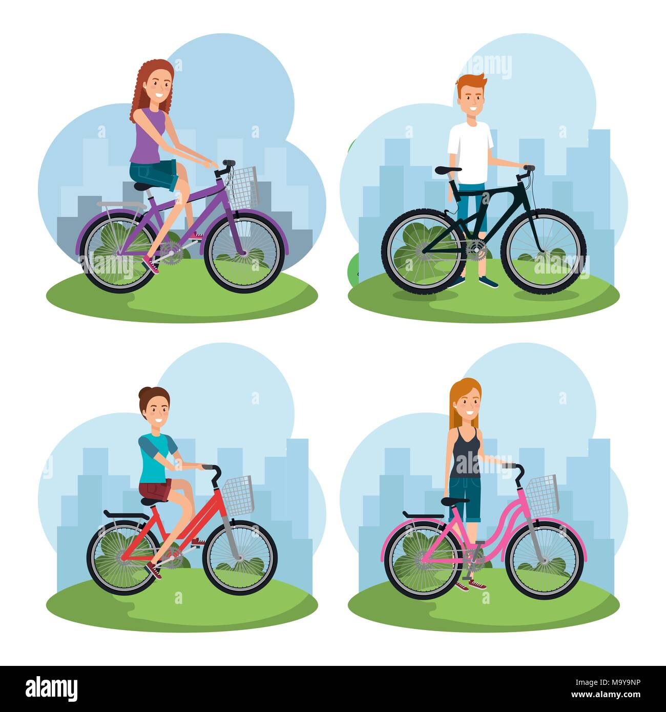 people in bicycle healthy lifestyle  - Stock Image
