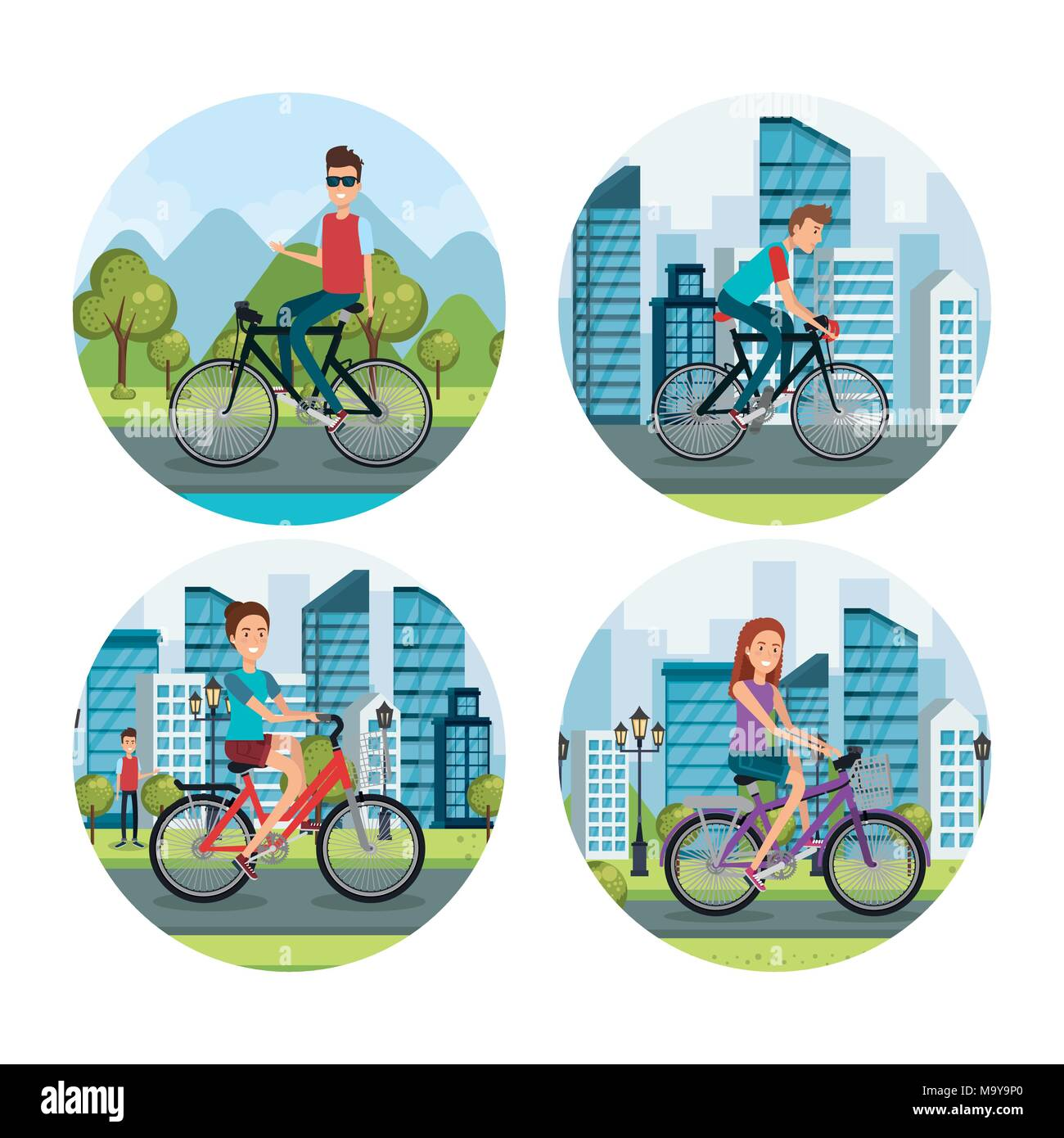 people in bicycle healthy lifestyle  - Stock Vector