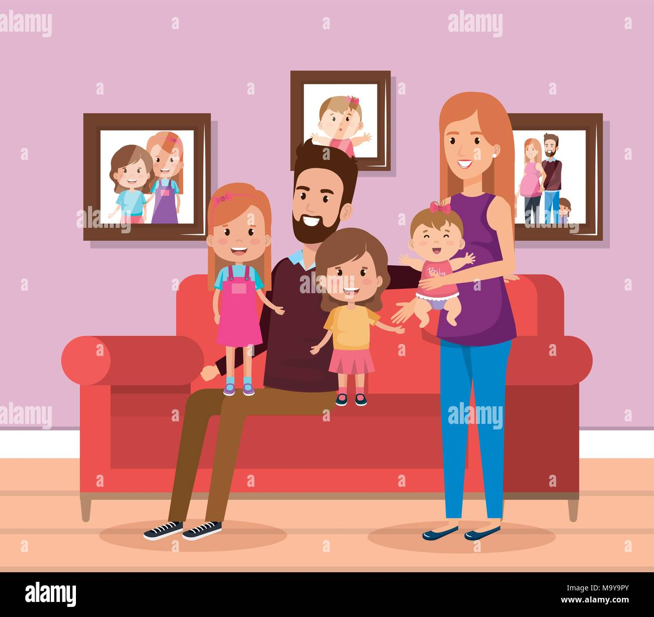 Cute Family Happy In The Living Room Characters Stock Vector Image Art Alamy