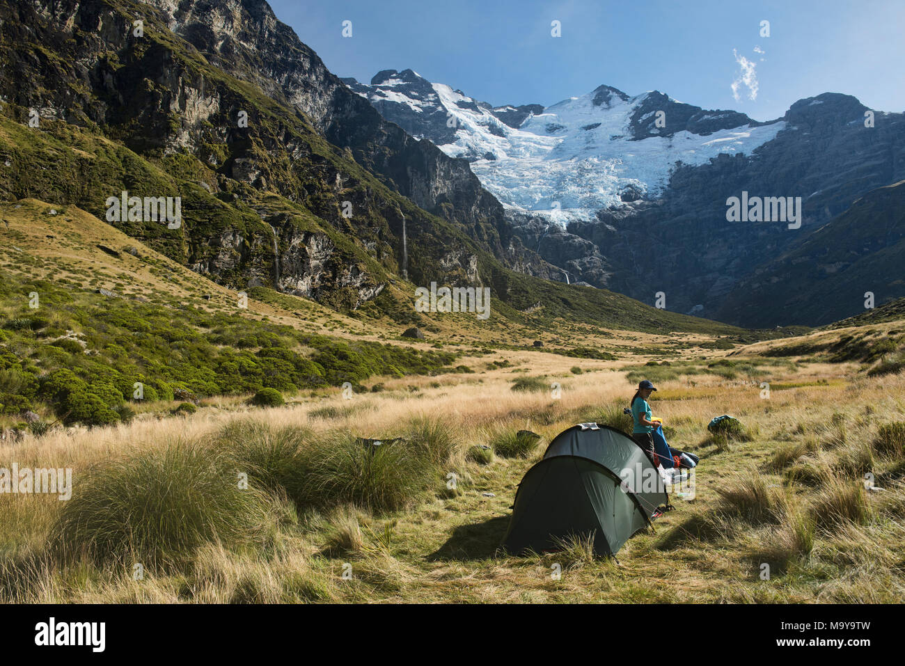 Fabulous scenery under Mt. Earnslaw (Pikirakatahi), location for the Hobbit movies Glenorchy, New Zealand - Stock Image