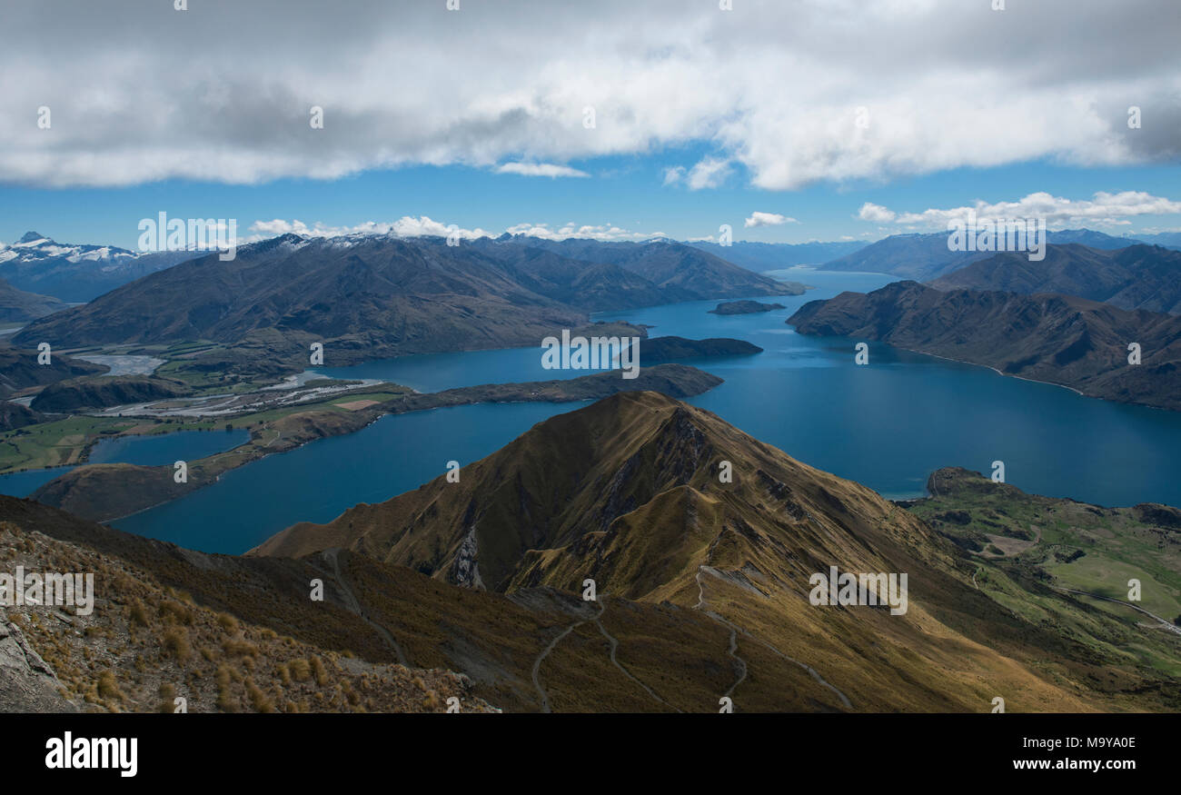 Tremendous views of Lake Wanaka from Roy's Peak, Wanaka, New Zealand Stock Photo