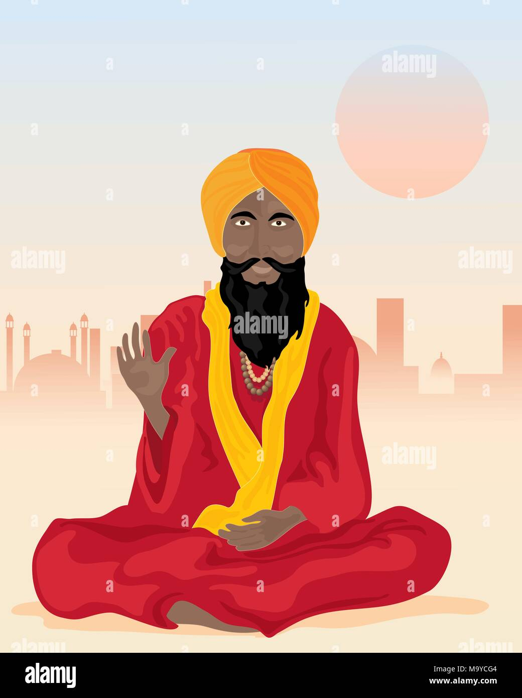 an illustration of an indian sadhu sat cross legged with colorful turban and robes in front of a dusty city - Stock Vector