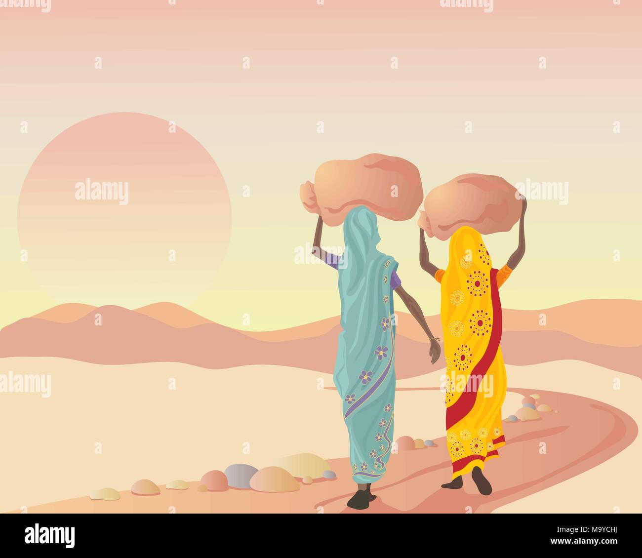 an illustration of two asian women dressed in traditional clothing carrying sacks at sunset after a working day - Stock Vector
