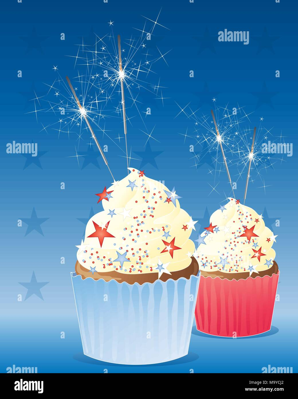 an illustration of two delicious cup cakes decorated to celebrate the fourth of july american independence day with frosting and sparklers on a deep b - Stock Vector