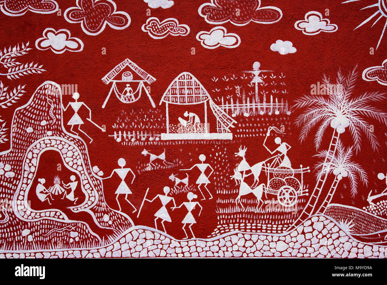 Warli painting on the wall rural art near pune maharashtra india warli painting on the wall rural art near pune maharashtra india altavistaventures Image collections
