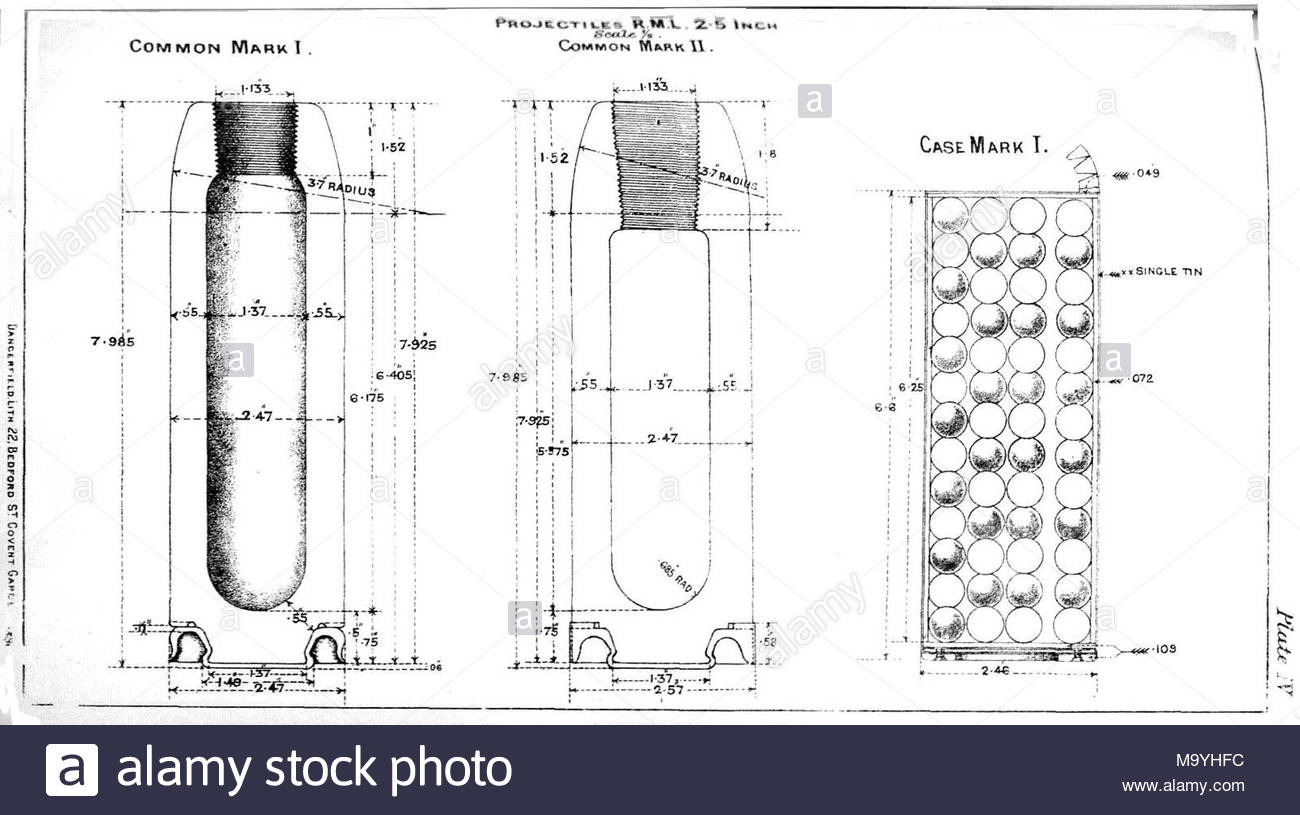 Diagrams Showing Common Shell And Case Shot For British Rml 25 Inch Diagram Of Mountai Mountain Gun